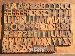 Large Antique VTG Wood Letterpress Print Type Block A-Z Letters Complete Set