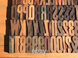 Large Antique VTG Wood Letterpress Print Type Block A-Z Letters #s Complete Set