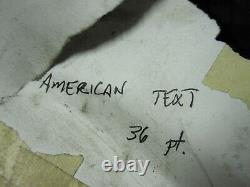 Letterpress 36 pt ATF 567 American Type 16LB+