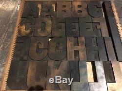 Letterpress 5 Bold Gothic Wood Type-Complete Font 82 pcs