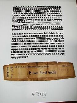 Letterpress Type 18 pt. Novel Gothic (Vintage ATF Font in Great Condition!)
