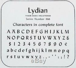 Letterpress Type ATF 18 pt LYDIAN complete font new