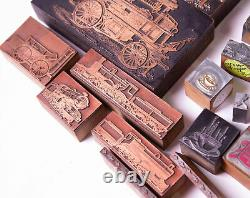 Lot 47 Vintage Letterpress Printers Blocks Tractor Train Steampunk Coffee Shells