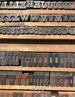 Lot 981 pcs Antique Vintage Wood Letterpress Print Type Block Letters Numbers