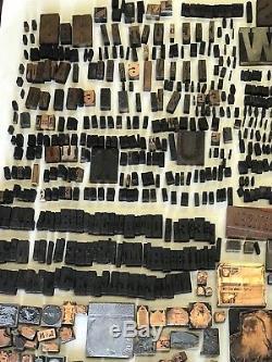 Lot Of 956! Vintage Printer Blocks, Copper, Steel, Wood, Letters, Logos