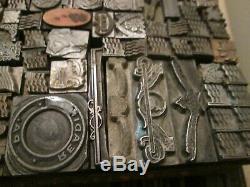 Lot Vintage Metal Letterpress Printing Printers Cuts DingBats Assorted Designs