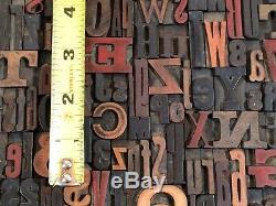 Lot of 100 Antique VTG Wood LETTERPRESS Print Type Block ALPHABET Letters & #'s