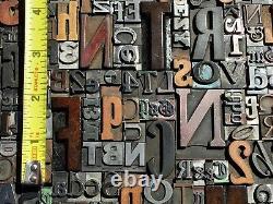 Lot of 100 Large VTG Metal Wood LETTERPRESS Print Type Block Alphabet Letters #s