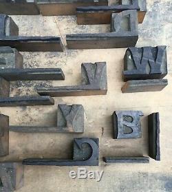 Lot of 46 Unique Rare Vintage Wood 3/4 Letterpress Print Type Block Letters