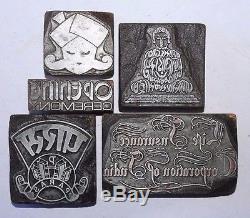Lot of 5 Antique VINTAGE LETTERPRESS METAL on WOOD PRINTING BLOCKS#065