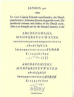 New Letterpress type-12pt. Janson