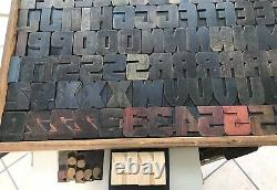 RARE Wood Letterpress Print Type 103 pcs 2-7/16 Set Lot Vtg