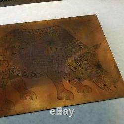 Rhinoceros Rhino Copper Engraved Printing Plate Block Letterpress Rare Children
