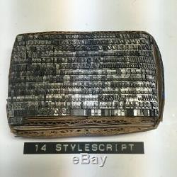 Style Script 14 pt Letterpress Type Printer's Metal Lead Printing Vintage