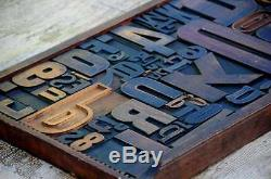 Unique Collage composition letterpress wood type characters drawer design rare