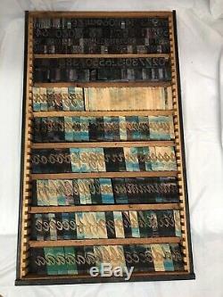 VTG Large Tray Letters Numbers Metal & Wood Ink Stamp Letterpress Printer Blocks