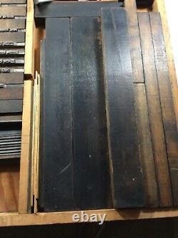VTG Tray Letters Symbols Metal Wood Ink Stamps Letterpress Printer Blocks
