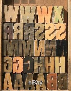 Vintage 100 Wood LETTERS Letterpress Print Type 2-1/2 2.5 COMPLETE SET lot