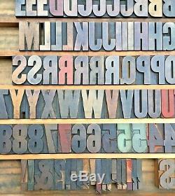 Vintage 127 Wood Letterpress Print Type Block Upper Case Letters Numbers 2 EUC
