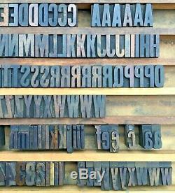 Vintage 157 Wood Letterpress Print Type Block Upper Lower Case Letter Numbers 1