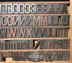 Vintage 274 Antique Wood Letterpress Print Type Block Letters 2.5 + 1 11/16
