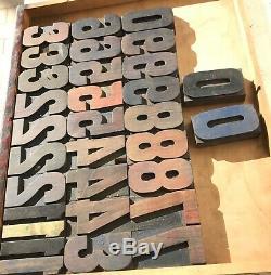 Vintage 31 Wood NUMBERS Letterpress Print Type 3 3-5/16 Printing Press lot