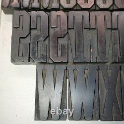 Vintage Antique Large Letterpress Wood Type Printers Block 3-7/8 Lot9