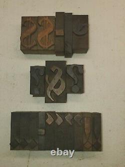 Vintage Bradley Font Letterpress Wood Type Printing Blocks Letters, Numbers lot1