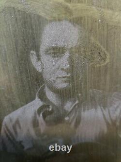 Vintage Johnny Cash photo Wooden Printing Block Printers