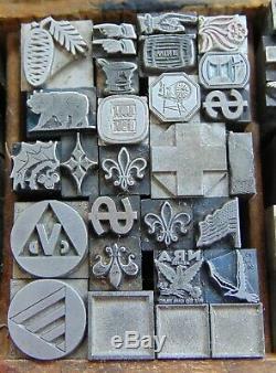 Vintage Letterpress Printing Blocks Lot All Metal Blocks Over 200