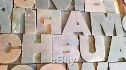 Vintage Letterpress wood printing blocks, alphabet 250 pcs Wooden Letters Old