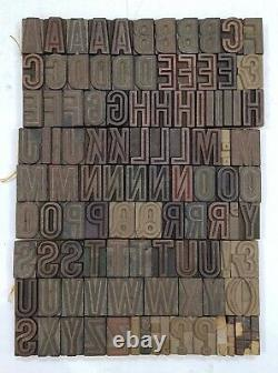 Vintage Letterpress wood/wooden printing type block typography 105pc 1.88 #TP35