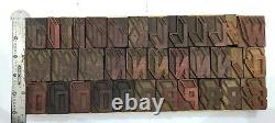 Vintage Letterpress wood/wooden printing type block typography 109 pc 42mm#TP-33