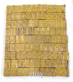 Vintage Letterpress wood/wooden printing type block typography 116 pc 33mm#LB142