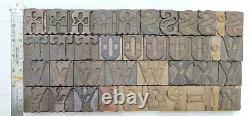 Vintage Letterpress wood/wooden printing type block typography 131 pc 43mm#TP-43