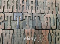 Vintage Letterpress wood/wooden printing type blocks typography 103 pc 48mm#LB36