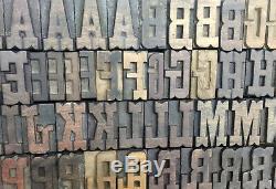 Vintage Letterpress wood/wooden printing type blocks typography 112 pc 39mm#LB48