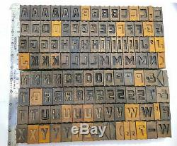 Vintage Letterpress wood/wooden printing type blocks typography 121 pc 35mm#LB25