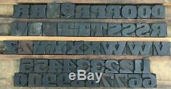Vintage Lot of 89 Wood Letterpress Print Type Blocks 69 Letters 20 Numbers 1