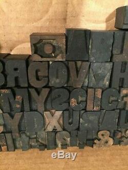 Vintage Printing Wood Type Blocks Printers Lot of 116 diff. 1 Letterpress