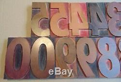 Vintage Wood LETTERPRESS Print Type Blocks Numbers 0-9 5 Tall