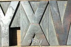 Vintage Wood Letterpress Print Type Block 61 Letters Numbers 4 1/4 4.25 inches
