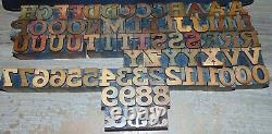 Vintage Wood Type Alphabet 1 Tall MISSING SOME LETTERS 74 Pieces