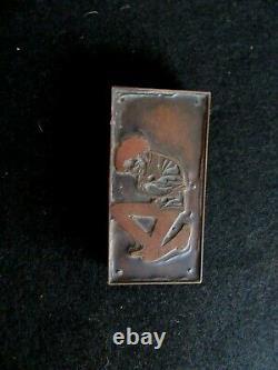 Vtg Wood/Copper Block Houdini Poster HandCarved Stamp Printing Letterpress L1.21