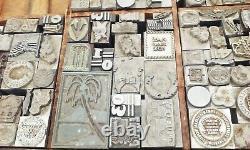 Vtg antique 300pc typo script letterpress type printers lead block set lot