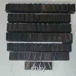 Wood Letterpress Print Type Block Upper/Lowercase Numbers Set 1 Lot4