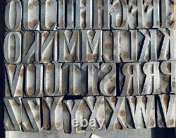 Wood Type Hamilton 676 Stereocast Metal letterpress alphabet printing 47pc CAPS