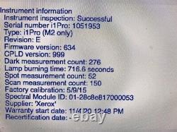 X-rite Xerox UV i1 PRO 2 Spectrophotometer (Warranty till 11/4/21) no scan