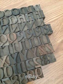 111 Antique 1 Bois Type Blocs D'impression Alphabet Typo Nombres Lettres