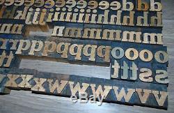 136 Bois Typo Blocs Type D'impression Minuscules Alphabet
